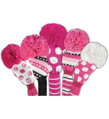 Bommel Sparkle Strick Headcover, pink